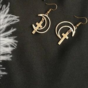 Jewelry - ARRIVED! Cross and Crescent Moon Earrings